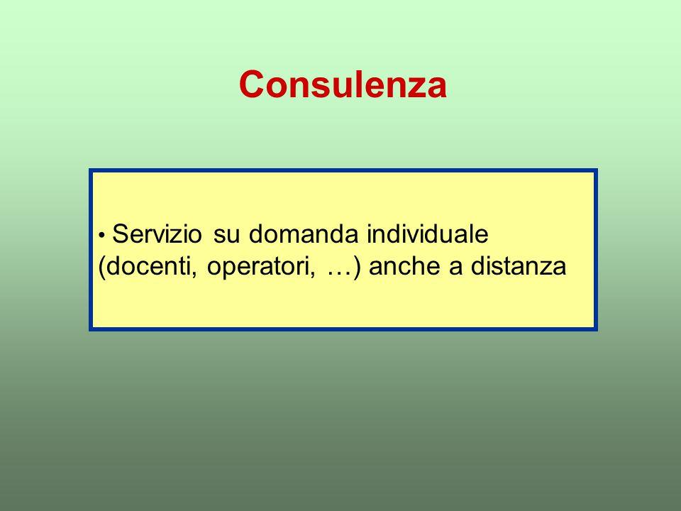 Consulenza Servizio su domanda individuale (docenti, operatori, …) anche a distanza