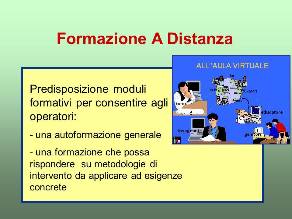 Formazione A Distanza Predisposizione moduli formativi per consentire agli operatori: - una autoformazione generale - una formazione che possa rispondere su metodologie di intervento da applicare ad esigenze concrete