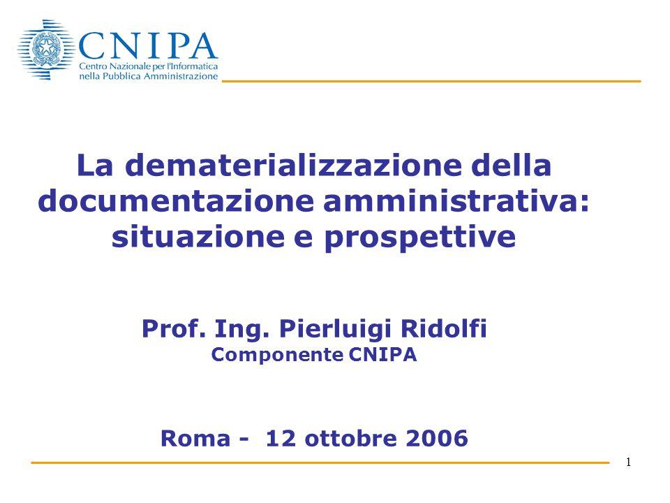1 La dematerializzazione della documentazione amministrativa: situazione e prospettive Prof.