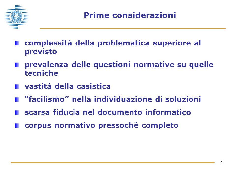 6 Prime considerazioni complessità della problematica superiore al previsto prevalenza delle questioni normative su quelle tecniche vastità della casistica facilismo nella individuazione di soluzioni scarsa fiducia nel documento informatico corpus normativo pressoché completo