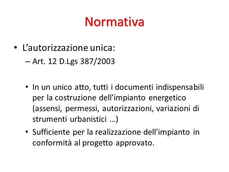 Normativa L'autorizzazione unica: – Art.