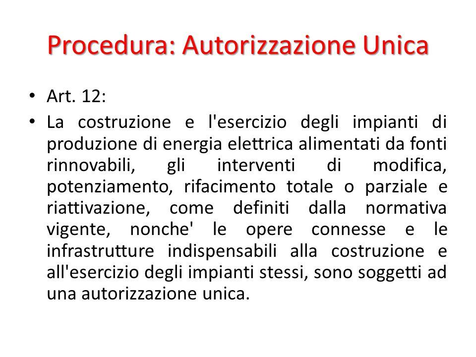 Procedura: Autorizzazione Unica Art.