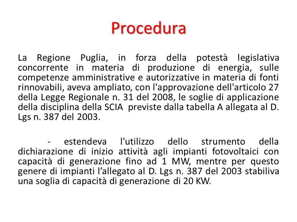 Procedura La Regione Puglia, in forza della potestà legislativa concorrente in materia di produzione di energia, sulle competenze amministrative e autorizzative in materia di fonti rinnovabili, aveva ampliato, con l approvazione dell articolo 27 della Legge Regionale n.