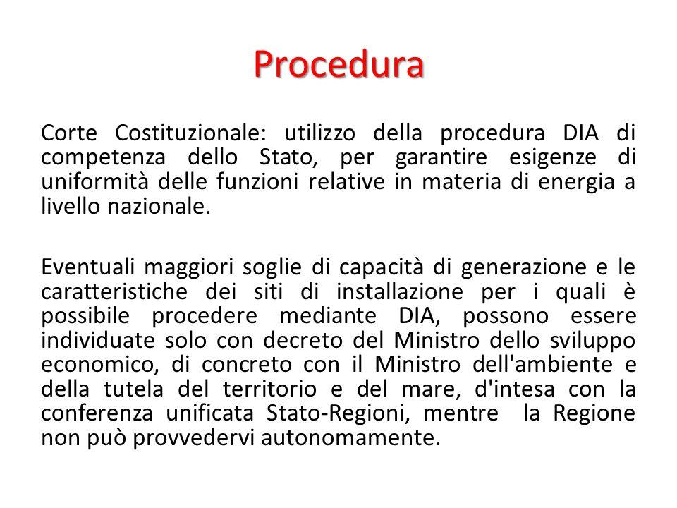 Procedura Corte Costituzionale: utilizzo della procedura DIA di competenza dello Stato, per garantire esigenze di uniformità delle funzioni relative in materia di energia a livello nazionale.