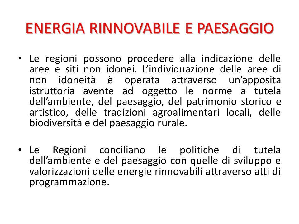 ENERGIA RINNOVABILE E PAESAGGIO Le regioni possono procedere alla indicazione delle aree e siti non idonei.