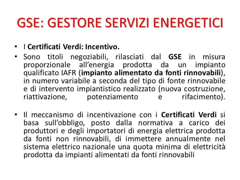 GSE: GESTORE SERVIZI ENERGETICI I Certificati Verdi: Incentivo.