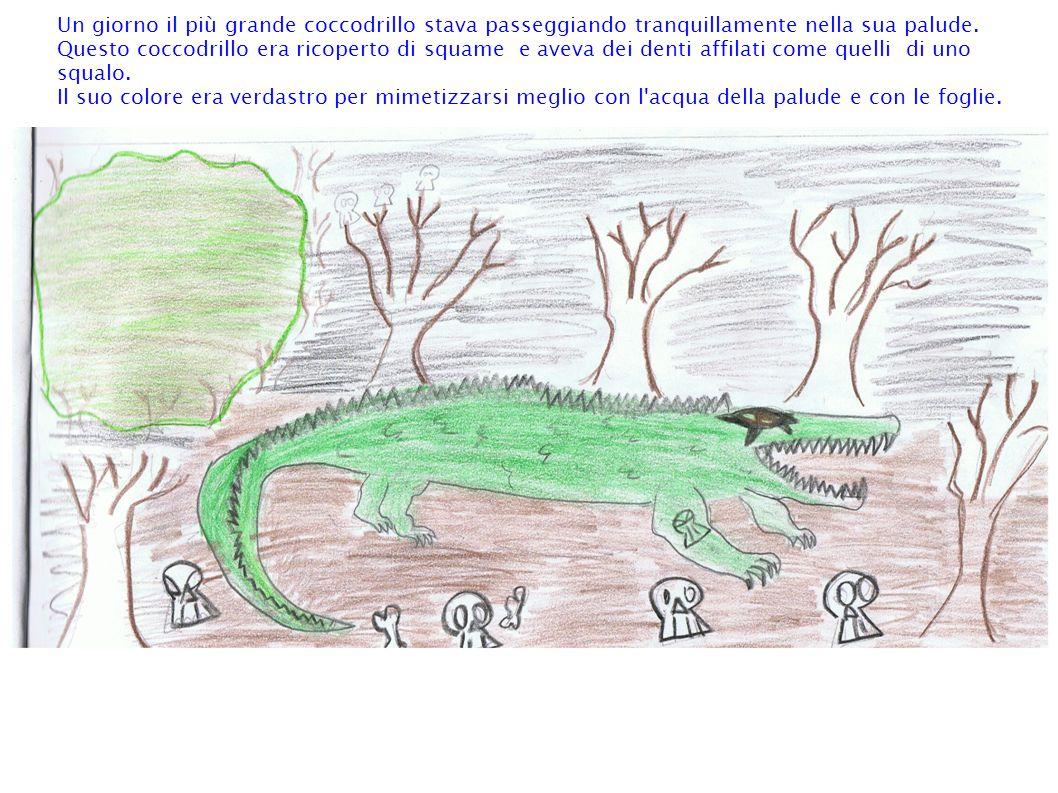 Un giorno il più grande coccodrillo stava passeggiando tranquillamente nella sua palude.