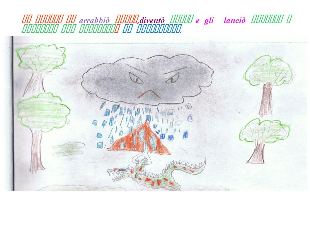 La nuvola si arrabbiò molto, diventò scura e gli lanciò pioggia e grandine per rompergli il deltaplano.