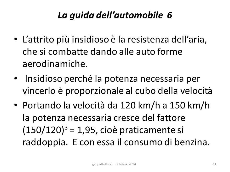 La guida dell'automobile 6 L'attrito più insidioso è la resistenza dell'aria, che si combatte dando alle auto forme aerodinamiche.