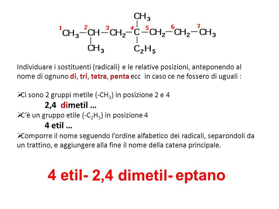 Individuare i sostituenti (radicali) e le relative posizioni, anteponendo al nome di ognuno di, tri, tetra, penta ecc in caso ce ne fossero di uguali