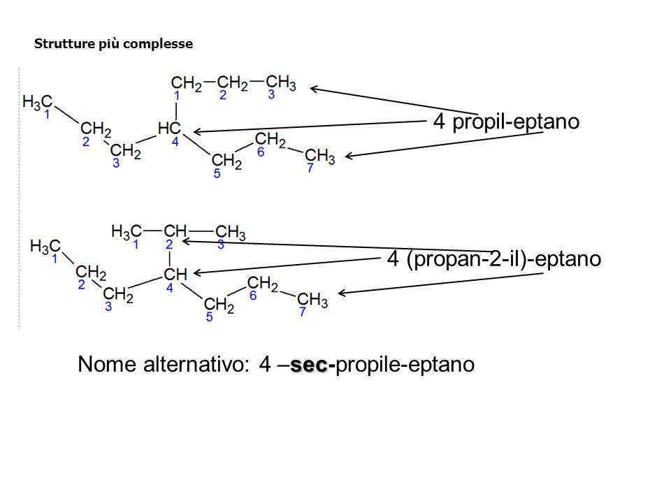 Strutture più complesse 4 propil-eptano 4 (propan-2-il)-eptano sec Nome alternativo: 4 –sec-propile-eptano