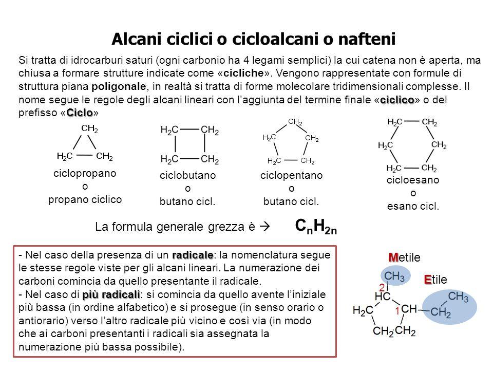 1 2 Alcani ciclici o cicloalcani o nafteni ciclico Ciclo Si tratta di idrocarburi saturi (ogni carbonio ha 4 legami semplici) la cui catena non è aper