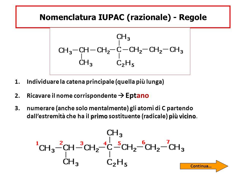 Nomenclatura IUPAC (razionale) - Regole 1.Individuare la catena principale (quella più lunga) 2.Ricavare il nome corrispondente  Eptano primo più vic
