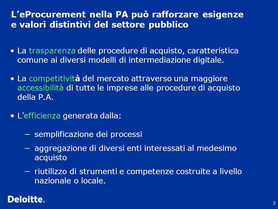3 L'eProcurement nella PA può rafforzare esigenze e valori distintivi del settore pubblico La trasparenza delle procedure di acquisto, caratteristica comune ai diversi modelli di intermediazione digitale.