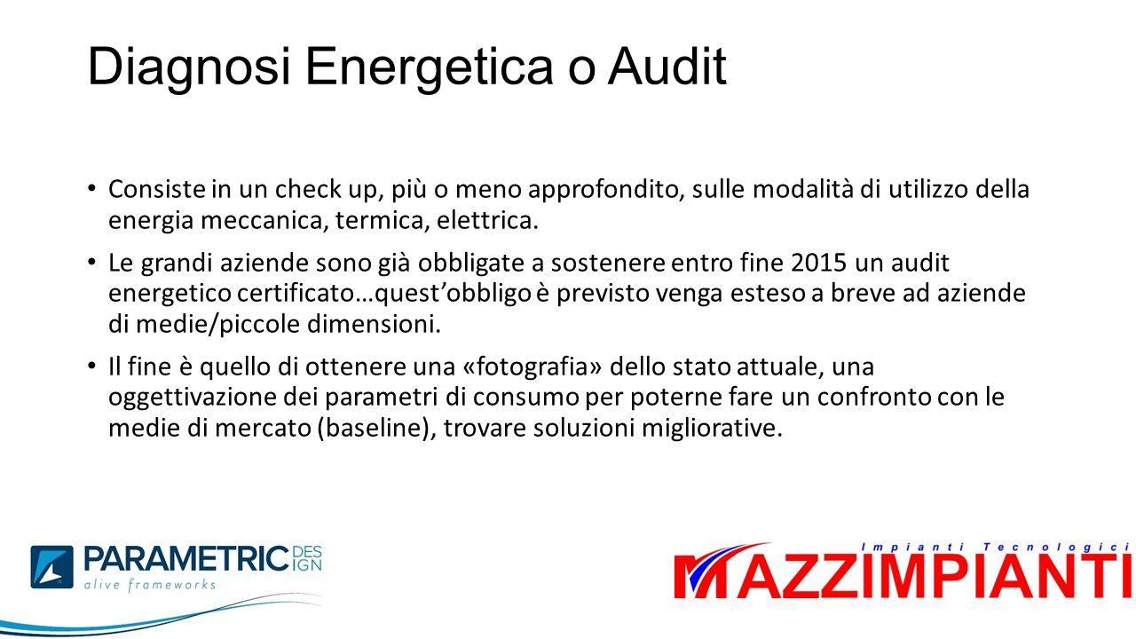 Diagnosi Energetica o Audit Consiste in un check up, più o meno approfondito, sulle modalità di utilizzo della energia meccanica, termica, elettrica.