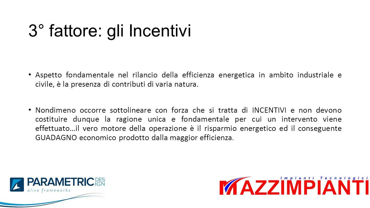 3° fattore: gli Incentivi Aspetto fondamentale nel rilancio della efficienza energetica in ambito industriale e civile, è la presenza di contributi di