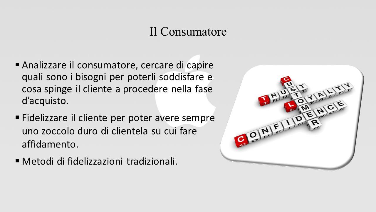 Il Consumatore  Analizzare il consumatore, cercare di capire quali sono i bisogni per poterli soddisfare e cosa spinge il cliente a procedere nella fase d'acquisto.