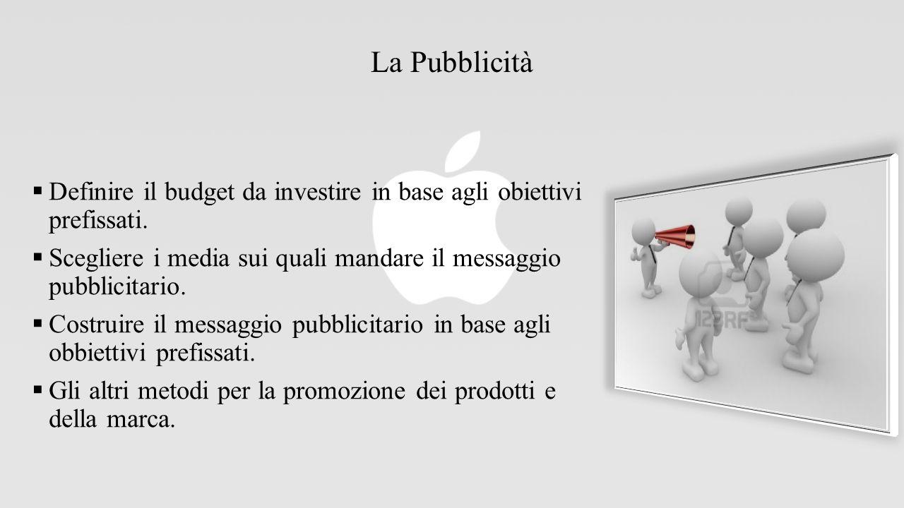 La Pubblicità  Definire il budget da investire in base agli obiettivi prefissati.