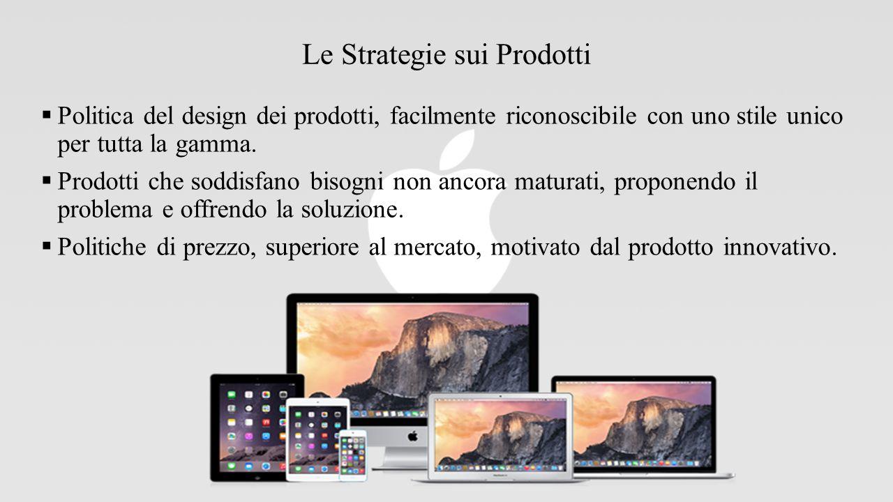 Le Strategie sui Prodotti  Politica del design dei prodotti, facilmente riconoscibile con uno stile unico per tutta la gamma.