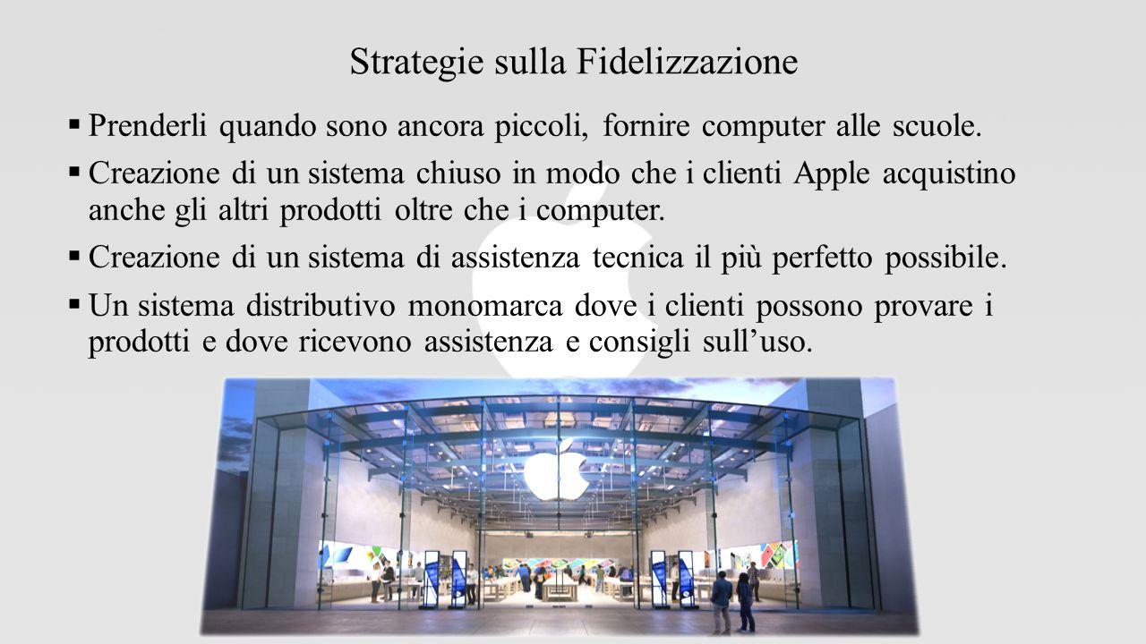 Strategie sulla Fidelizzazione  Prenderli quando sono ancora piccoli, fornire computer alle scuole.