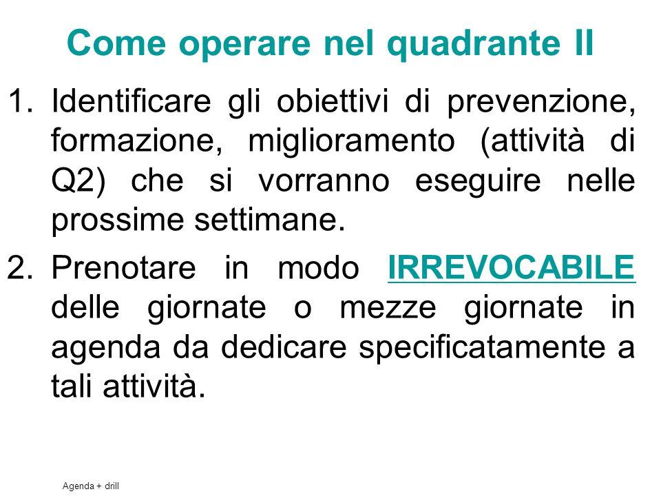 45 Come operare nel quadrante II 1.Identificare gli obiettivi di prevenzione, formazione, miglioramento (attività di Q2) che si vorranno eseguire nelle prossime settimane.