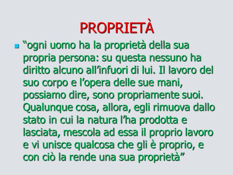 """PROPRIETÀ """"ogni uomo ha la proprietà della sua propria persona: su questa nessuno ha diritto alcuno all'infuori di lui. Il lavoro del suo corpo e l'op"""