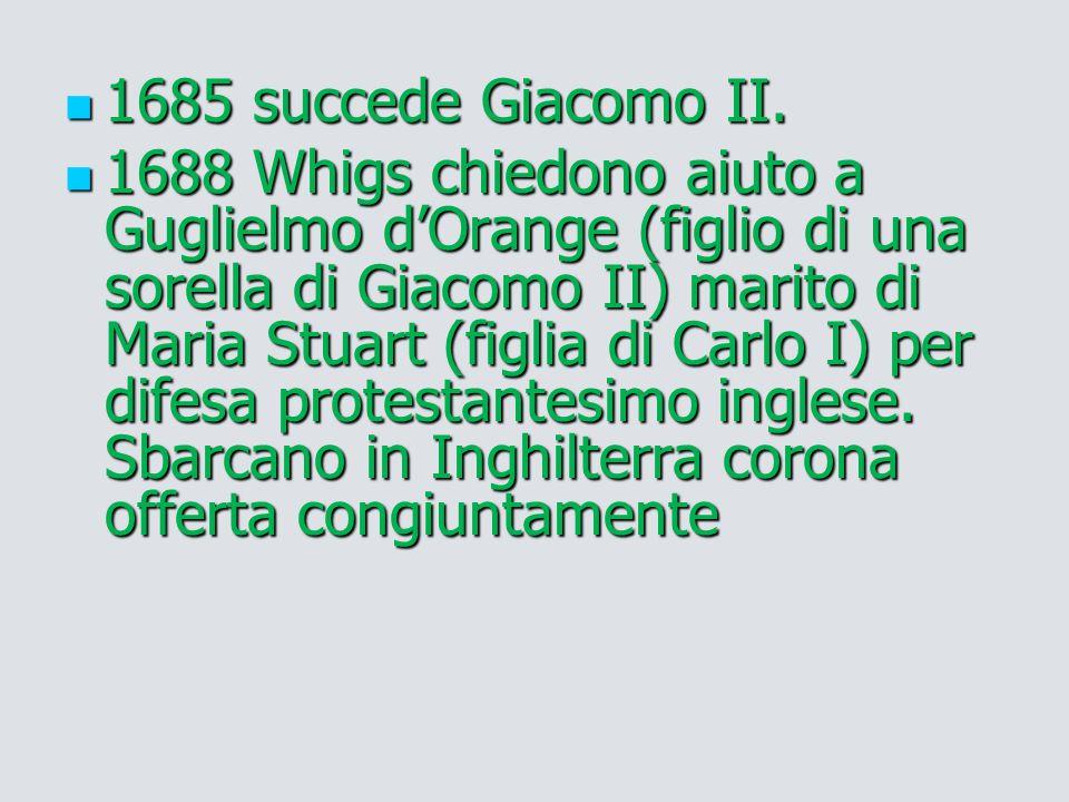 1685 succede Giacomo II. 1685 succede Giacomo II. 1688 Whigs chiedono aiuto a Guglielmo d'Orange (figlio di una sorella di Giacomo II) marito di Maria