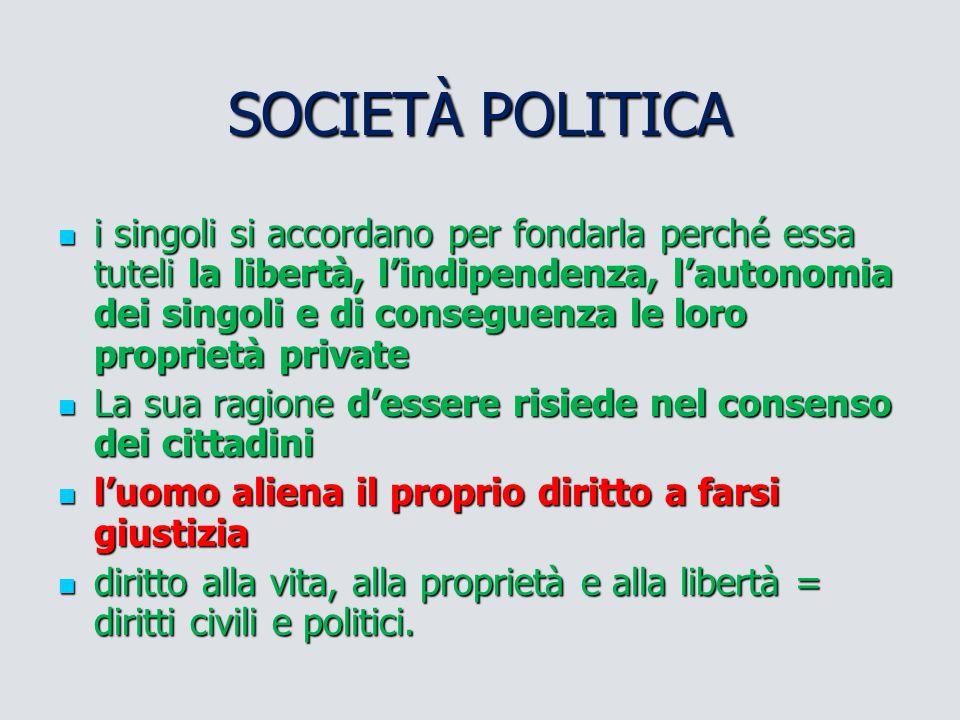 SOCIETÀ POLITICA i singoli si accordano per fondarla perché essa tuteli la libertà, l'indipendenza, l'autonomia dei singoli e di conseguenza le loro p