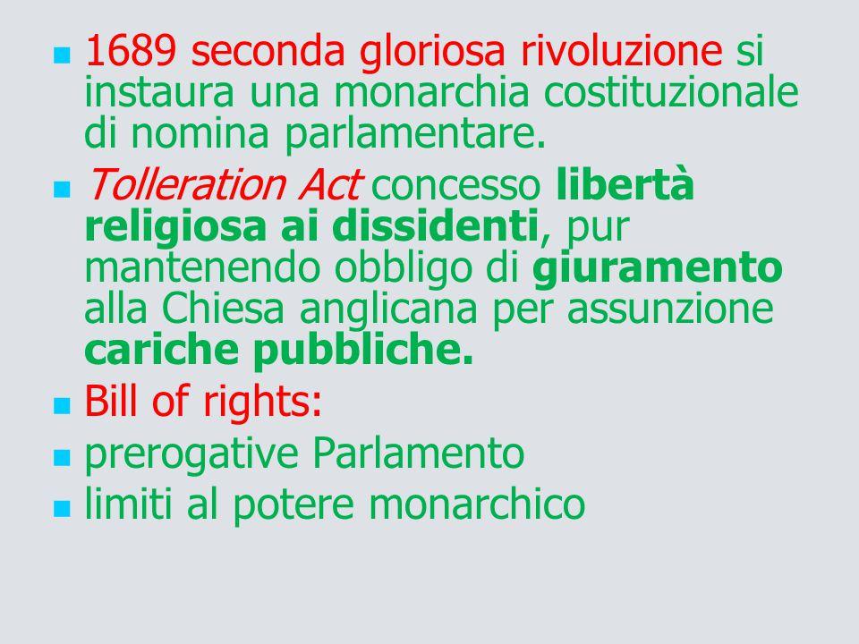1689 seconda gloriosa rivoluzione si instaura una monarchia costituzionale di nomina parlamentare. Tolleration Act concesso libertà religiosa ai dissi