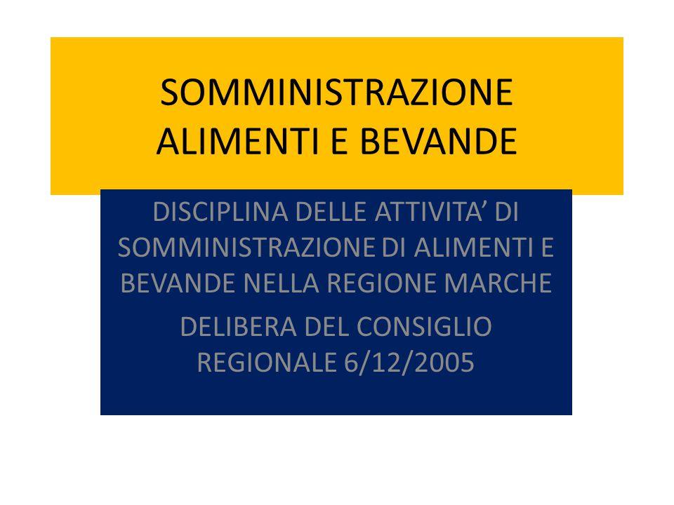 SOMMINISTRAZIONE ALIMENTI E BEVANDE DISCIPLINA DELLE ATTIVITA' DI SOMMINISTRAZIONE DI ALIMENTI E BEVANDE NELLA REGIONE MARCHE DELIBERA DEL CONSIGLIO REGIONALE 6/12/2005
