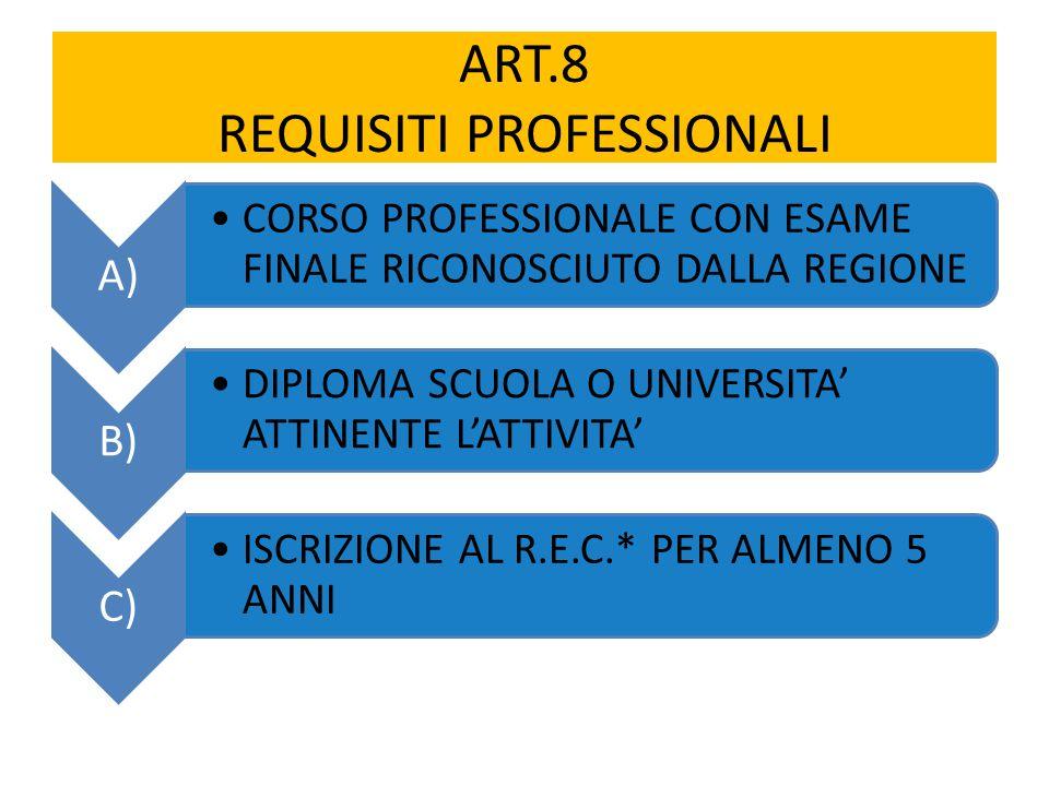 ART.8 REQUISITI PROFESSIONALI A) CORSO PROFESSIONALE CON ESAME FINALE RICONOSCIUTO DALLA REGIONE B) DIPLOMA SCUOLA O UNIVERSITA' ATTINENTE L'ATTIVITA' C) ISCRIZIONE AL R.E.C.* PER ALMENO 5 ANNI