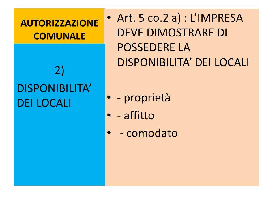 AUTORIZZAZIONE COMUNALE Art. 5 co.2 a) : L'IMPRESA DEVE DIMOSTRARE DI POSSEDERE LA DISPONIBILITA' DEI LOCALI - proprietà - affitto - comodato 2) DISPO