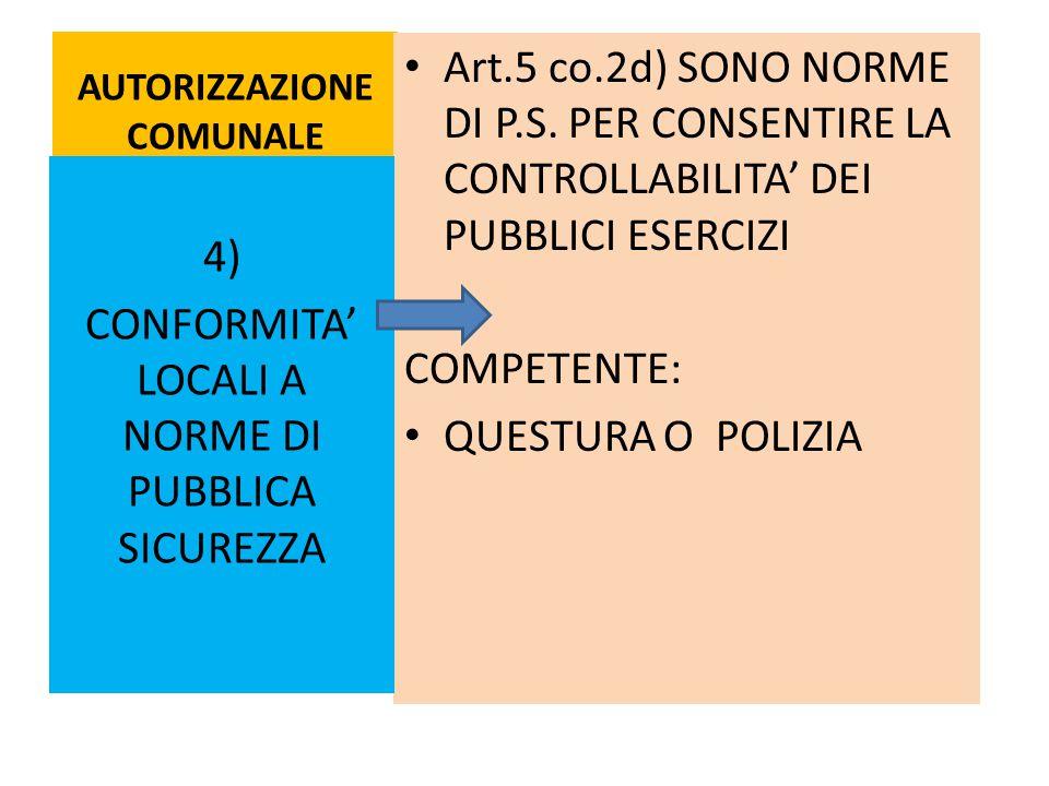 AUTORIZZAZIONE COMUNALE Art.5 co.2d) SONO NORME DI P.S. PER CONSENTIRE LA CONTROLLABILITA' DEI PUBBLICI ESERCIZI COMPETENTE: QUESTURA O POLIZIA 4) CON