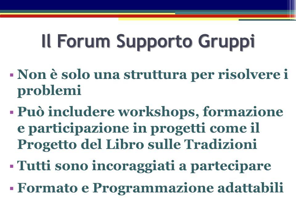 Il Forum Supporto Gruppi  Non è solo una struttura per risolvere i problemi  Può includere workshops, formazione e participazione in progetti come i