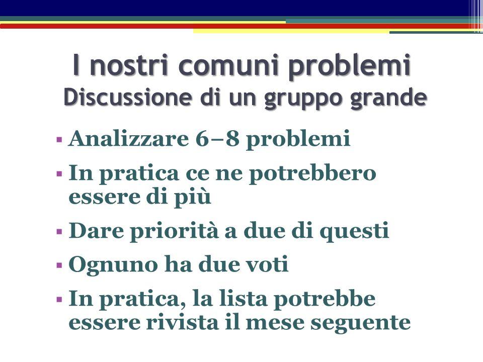  Analizzare 6−8 problemi  In pratica ce ne potrebbero essere di più  Dare priorità a due di questi  Ognuno ha due voti  In pratica, la lista potr