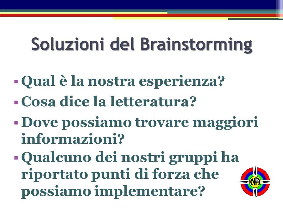 Soluzioni del Brainstorming  Qual è la nostra esperienza?  Cosa dice la letteratura?  Dove possiamo trovare maggiori informazioni?  Qualcuno dei n