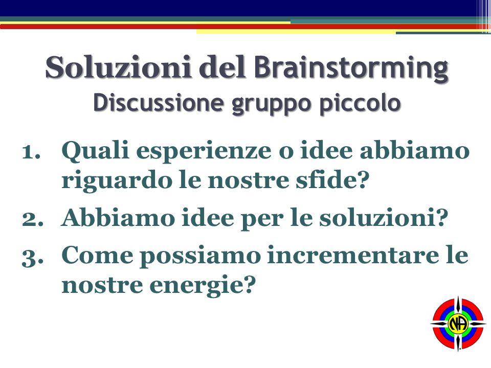 Soluzioni del Brainstorming 1.Quali esperienze o idee abbiamo riguardo le nostre sfide? 2.Abbiamo idee per le soluzioni? 3.Come possiamo incrementare