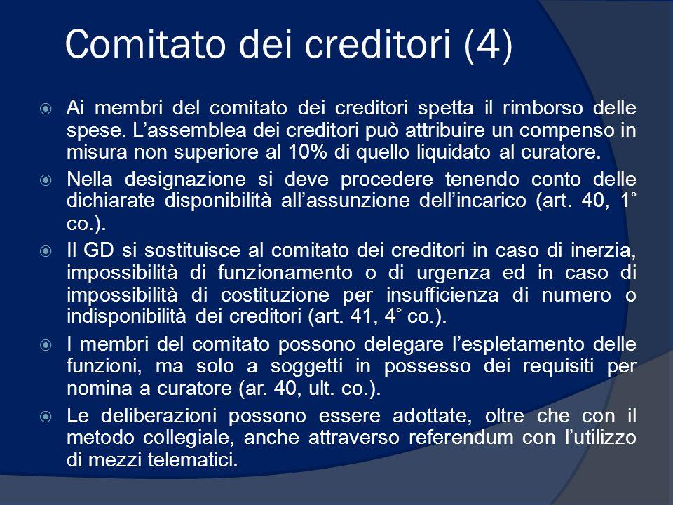 Comitato dei creditori (4)  Ai membri del comitato dei creditori spetta il rimborso delle spese. L'assemblea dei creditori può attribuire un compenso
