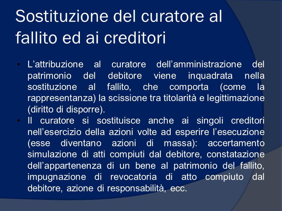 Sostituzione del curatore al fallito ed ai creditori L'attribuzione al curatore dell'amministrazione del patrimonio del debitore viene inquadrata nell
