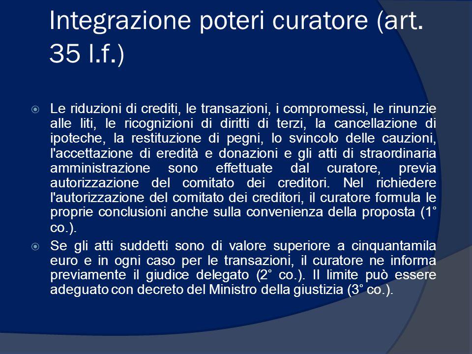 Integrazione poteri curatore (art. 35 l.f.)  Le riduzioni di crediti, le transazioni, i compromessi, le rinunzie alle liti, le ricognizioni di diritt