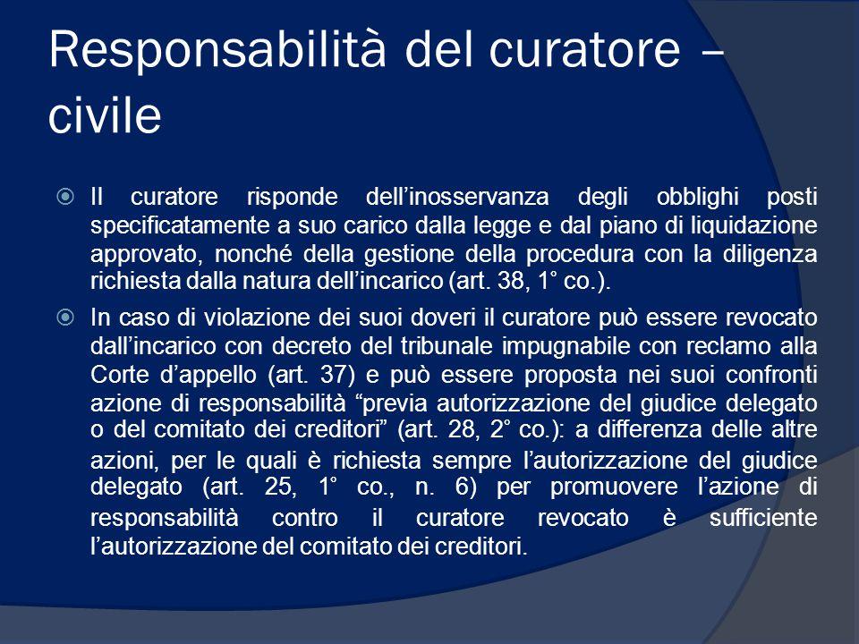 Responsabilità del curatore – civile  Il curatore risponde dell'inosservanza degli obblighi posti specificatamente a suo carico dalla legge e dal pia