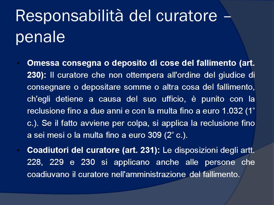 Responsabilità del curatore – penale Omessa consegna o deposito di cose del fallimento (art. 230): Il curatore che non ottempera all'ordine del giudic