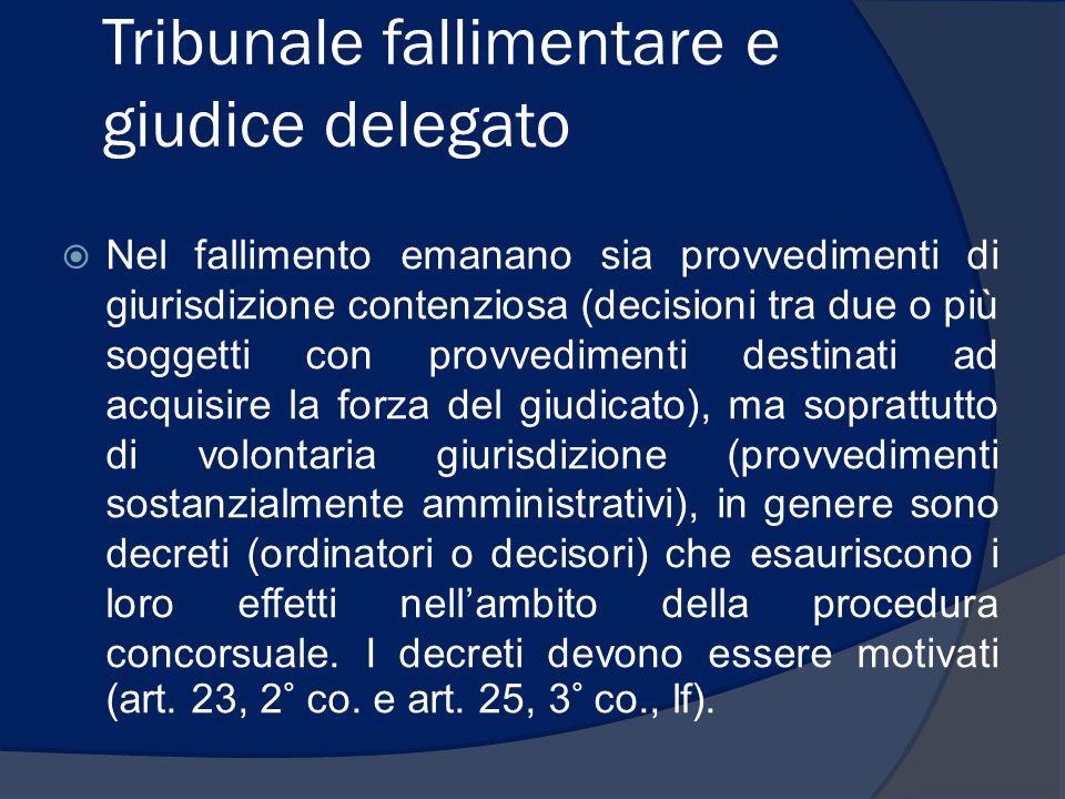 Tribunale fallimentare e giudice delegato  Nel fallimento emanano sia provvedimenti di giurisdizione contenziosa (decisioni tra due o più soggetti co