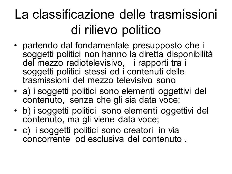La classificazione delle trasmissioni di rilievo politico partendo dal fondamentale presupposto che i soggetti politici non hanno la diretta disponibi