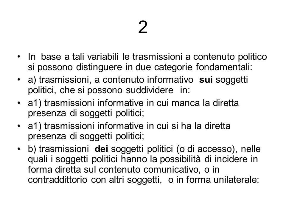 2 In base a tali variabili le trasmissioni a contenuto politico si possono distinguere in due categorie fondamentali: a) trasmissioni, a contenuto inf