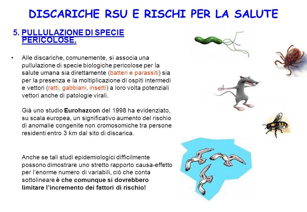 5. PULLULAZIONE DI SPECIE PERICOLOSE. Alle discariche, comunemente, si associa una pullulazione di specie biologiche pericolose per la salute umana si