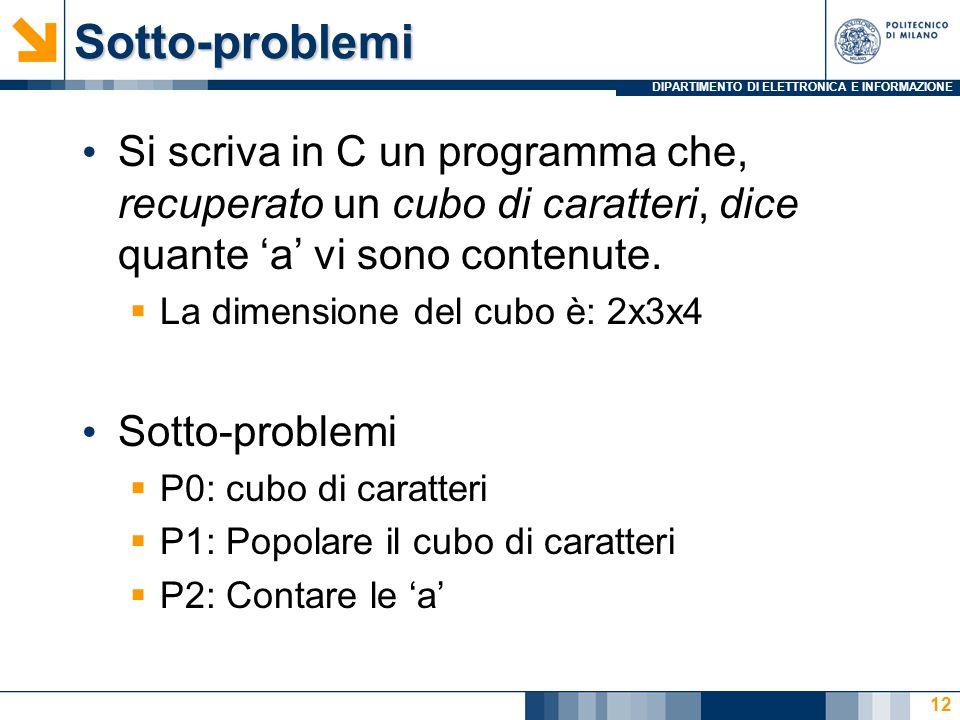 DIPARTIMENTO DI ELETTRONICA E INFORMAZIONESotto-problemi Si scriva in C un programma che, recuperato un cubo di caratteri, dice quante 'a' vi sono con