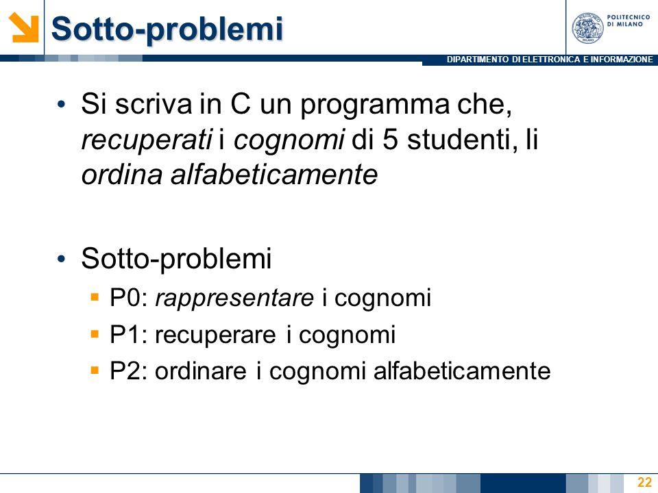 DIPARTIMENTO DI ELETTRONICA E INFORMAZIONESotto-problemi Si scriva in C un programma che, recuperati i cognomi di 5 studenti, li ordina alfabeticament