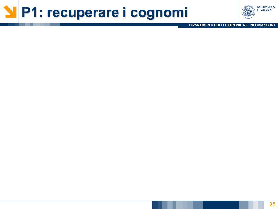 DIPARTIMENTO DI ELETTRONICA E INFORMAZIONE P1: recuperare i cognomi 25