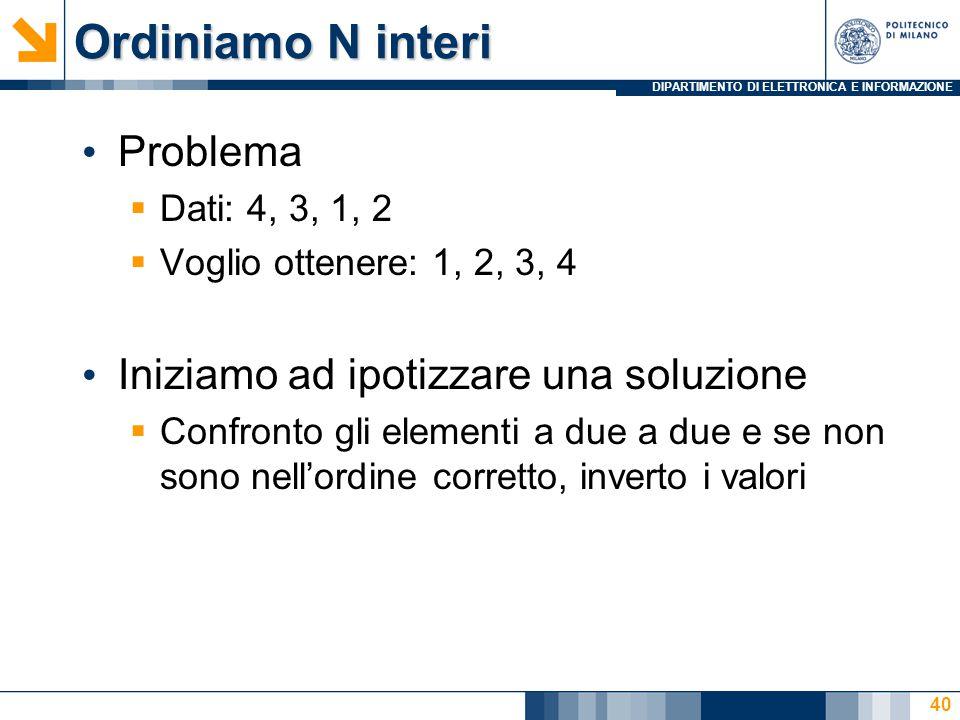 DIPARTIMENTO DI ELETTRONICA E INFORMAZIONE Ordiniamo N interi Problema  Dati: 4, 3, 1, 2  Voglio ottenere: 1, 2, 3, 4 Iniziamo ad ipotizzare una sol